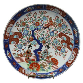 Japanese Imari Hand Enameled Porcelain Pictorial Charger For Sale