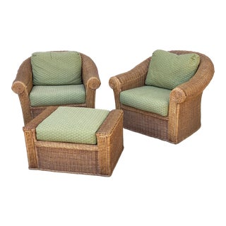 Henry Link Vintage Rattan Wicker Club Chairs and Ottoman - Pair For Sale