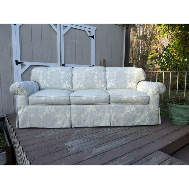 Formal Custom Built Blue on Ivory Silky Damask Upholstered Sofa For Sale - Image 13 of 13