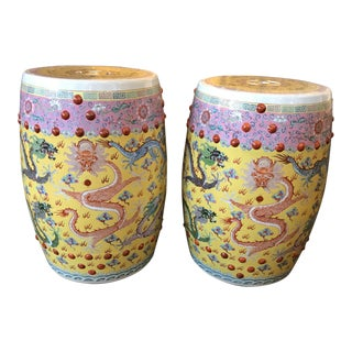 Chinese Imperial Yellow Garden Seats - A Pair