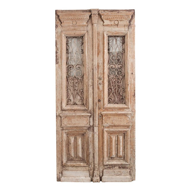 Tall Pair of French Napoleon III-Style Early-20th Century Painted Pine and Wrought-Iron Exterior Entrance Doors For Sale - Image 11 of 11