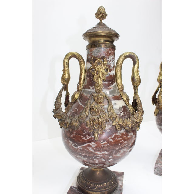 French 19th Century Bronze Doré & Marble Cassolettes-A Pair For Sale - Image 9 of 10
