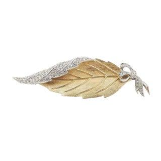 1950s Avon of Belleville (Boucher) Pavé Rhinestone Leaf Pin For Sale