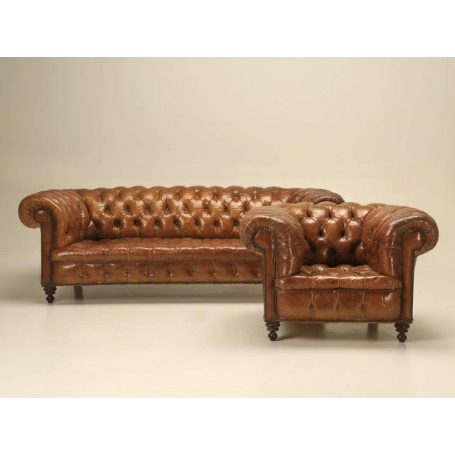 Luxury antique leather chesterfield sofa in original leather decaso for Chesterfield sofa original