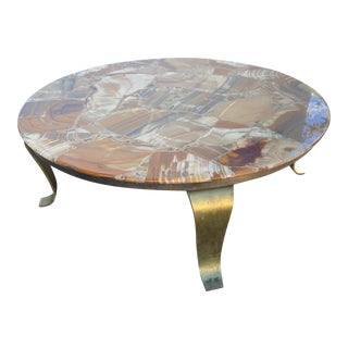 1970s Muller of Mexico Lacquered Onyx Coffee Table with Brass Base For Sale