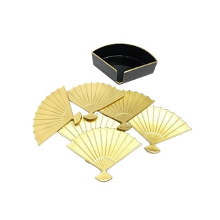 1960s Fan Shaped Japanese Coasters - Set of 6 For Sale