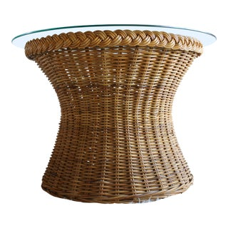 Vintage Mid Century the Wicker Works San Franisco Rattan Woven High End Tulip Side Table Albini Style For Sale