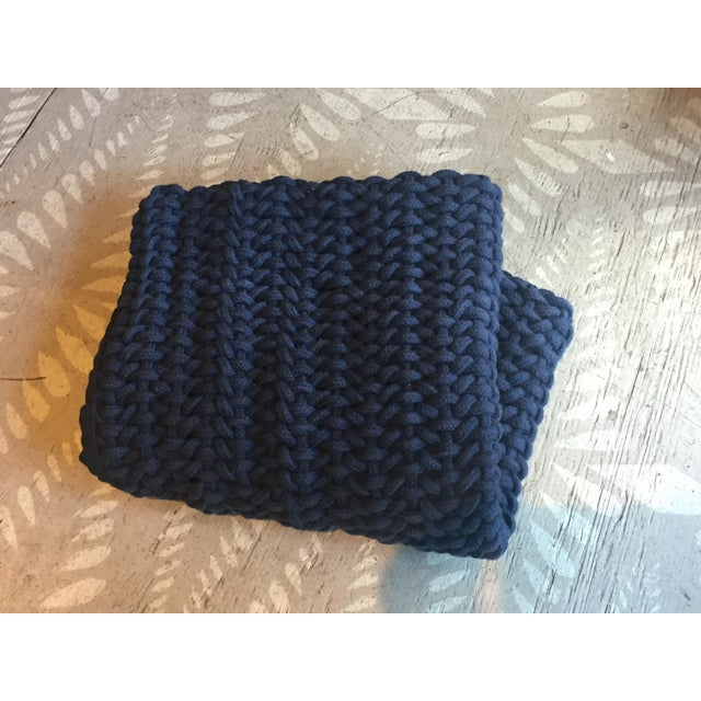 Boho Chic Coyuchi Indigo Woven Rope Organic Pillow Cover For Sale - Image 3 of 6