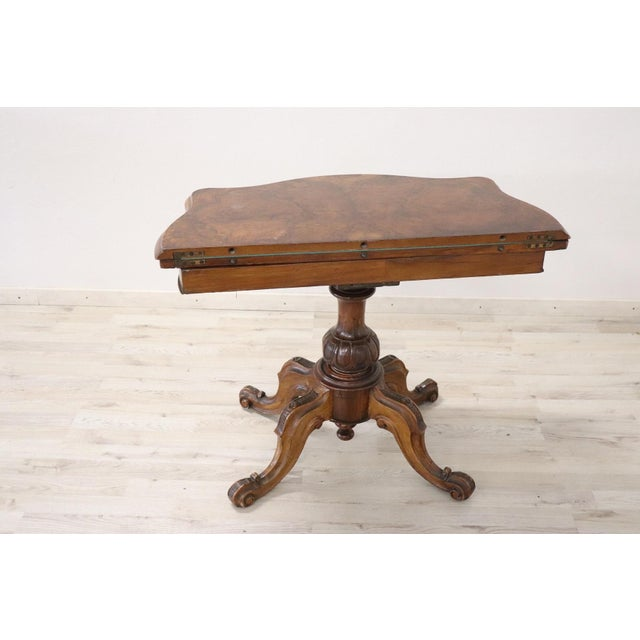 19th Century Italian Walnut Carved and Burl Game Table For Sale - Image 9 of 12