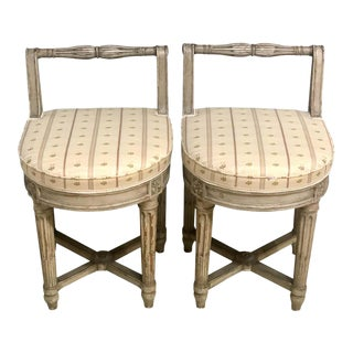 Pair of 18th Century French Musician's Chairs, Diminutive Chair or Stools For Sale