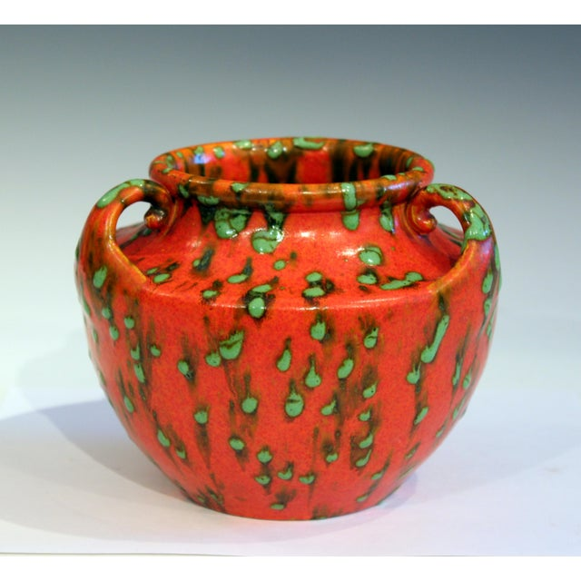 Awaji Pottery Green Spotted Chrome Orange Signed Studio Vase For Sale - Image 10 of 10