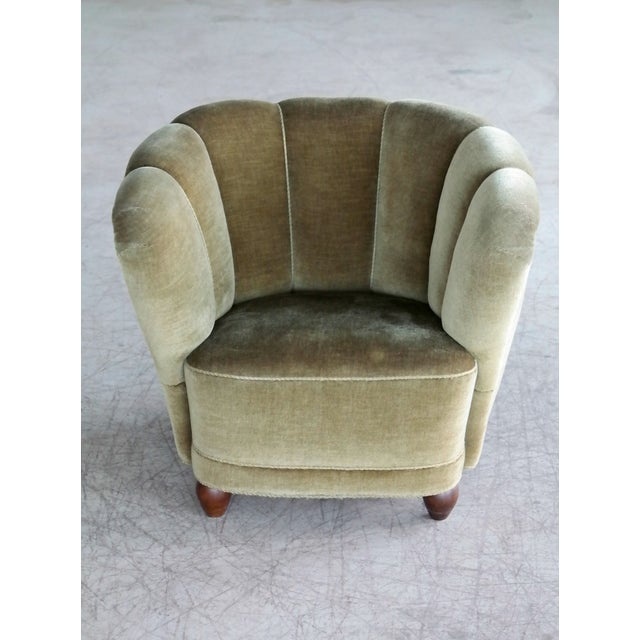 Danish 1940s Viggo Boesen Style Club Chair in Beech and Mohair For Sale - Image 4 of 10