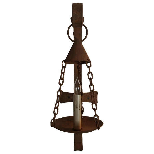 Vintage Iron Electrified Sconce For Sale