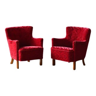 Danish 1940s Fritz Hansen Style Small Scale Lounge Chairs in Red Mohair For Sale