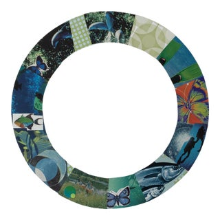 """Urso Contemporary Collage """"Blue/Green Fin"""" For Sale"""
