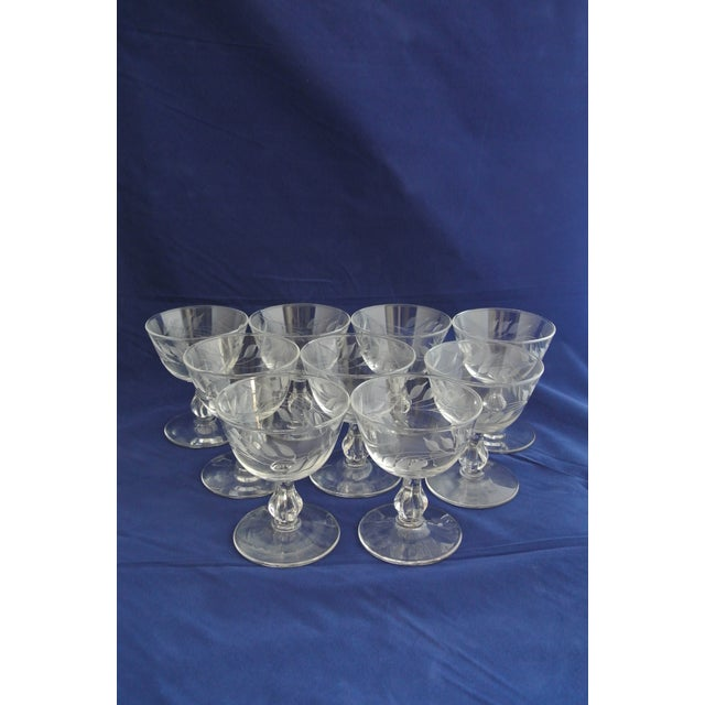 American Classical Antique Etched Crystal Champagne Coupes - Set of 9 For Sale - Image 3 of 11