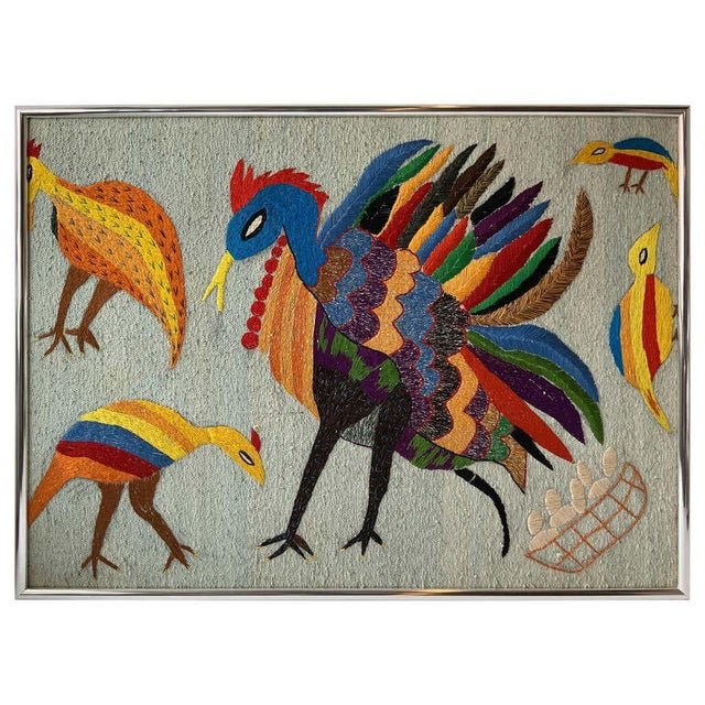Gray Large Embroidered Turkey Wall Hanging For Sale - Image 8 of 8