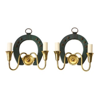 1950s Stitched Leather Sconces by Jacques Adnet - A Pair For Sale