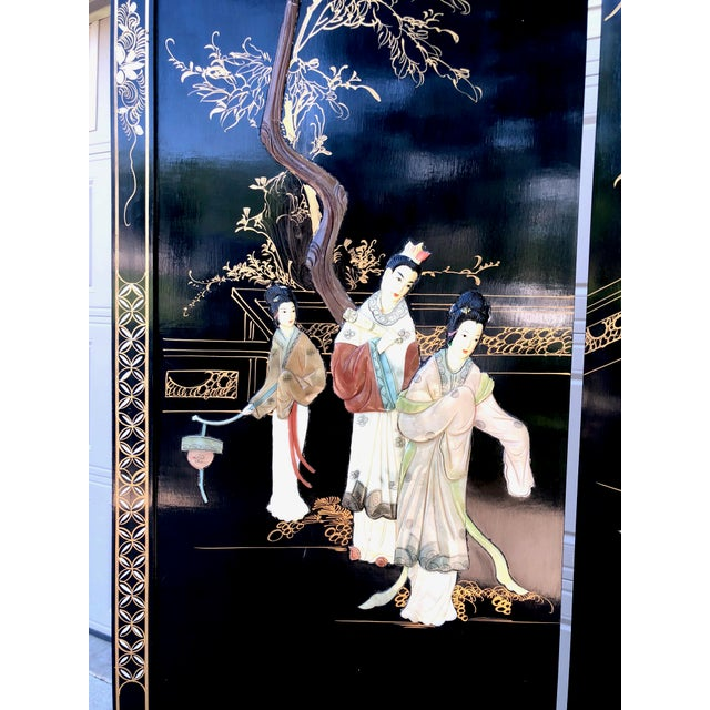 Bamboo 1940's Asian Jade and Black Lacquer Coromandel Room Divider For Sale - Image 7 of 13