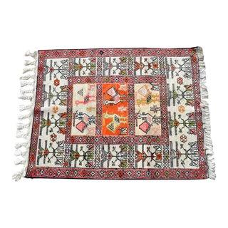 Sumac Kilim Rug Hand Woven Silk Persian Rug - 2′5″ × 3′1″