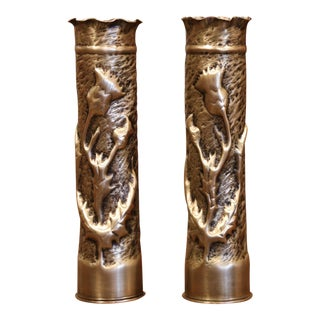 World War I French Trench Artillery Brass Shell Casing Vases With Foliage Motifs For Sale