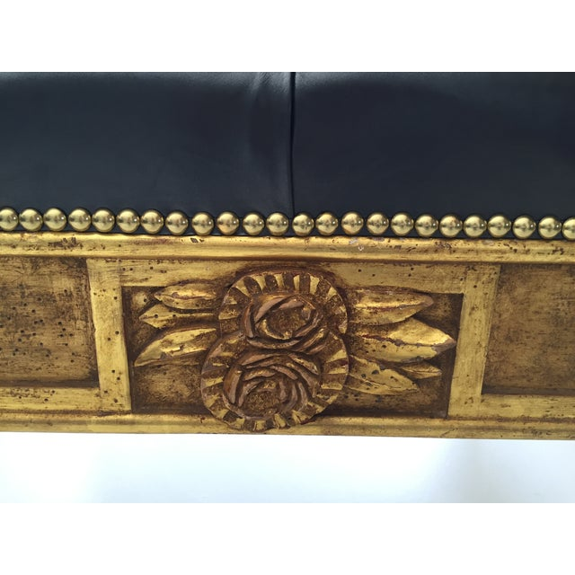 Gold Leaf Leather Benches - A Pair - Image 5 of 6