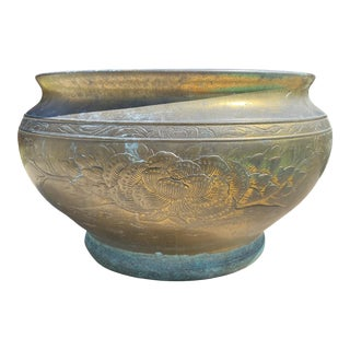 Antique Brass Chinese Planter With Peony Motif For Sale