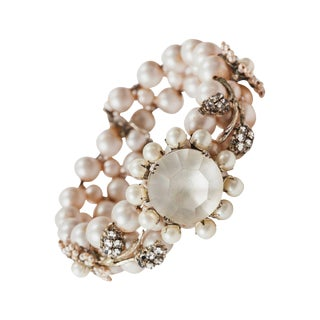 Miriam Haskell Pearl and Diamante Bracelet For Sale