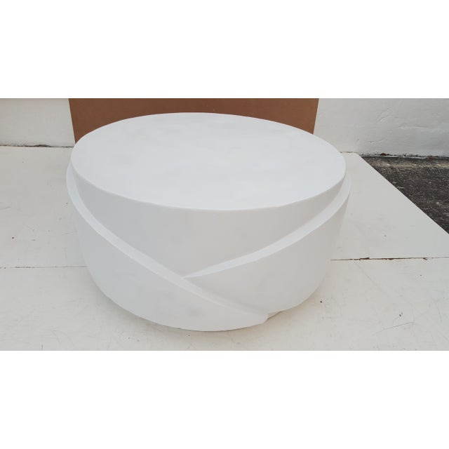 Sculptural Plaster Round Coffee Table For Sale - Image 11 of 11