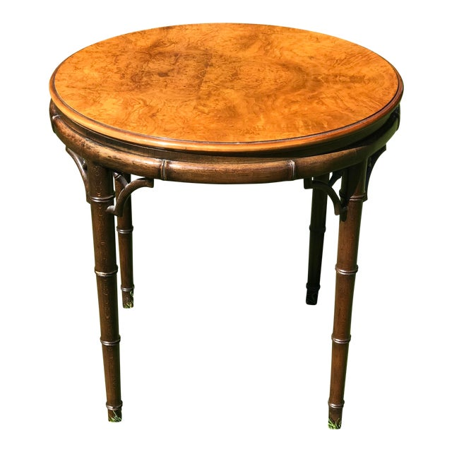 1970s Mid-Century Modern John Widdicomb Walnut and Faux Bamboo Side Table For Sale