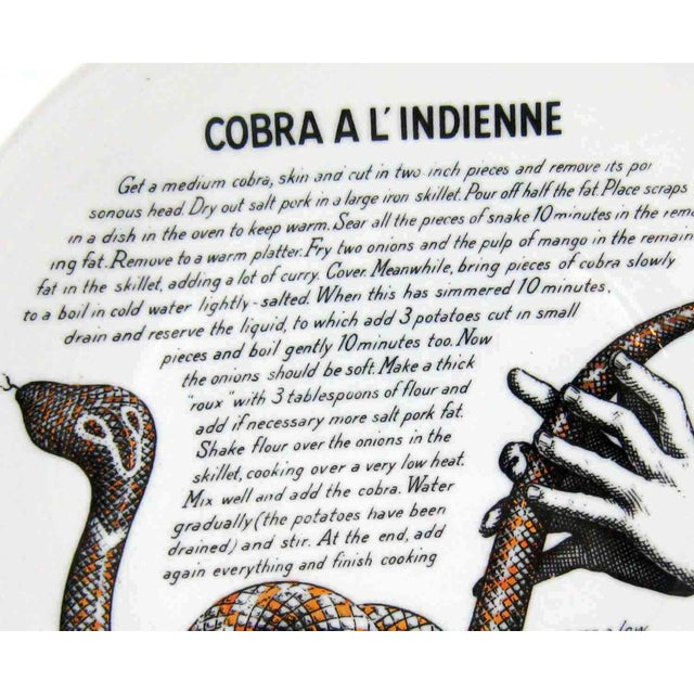Mid-Century Modern Piero Fornasetti 1960's Cobra a L'Indienne Improbable Recipe Plate for Fleming Joffe For Sale - Image 3 of 8