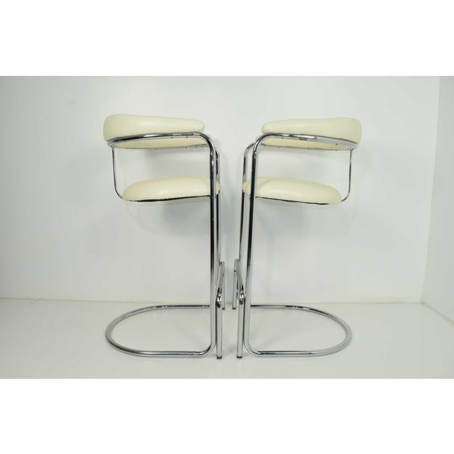 Chrome Thonet Attributed Barstools in New Duralee Upholstery - A Pair For Sale - Image 7 of 7