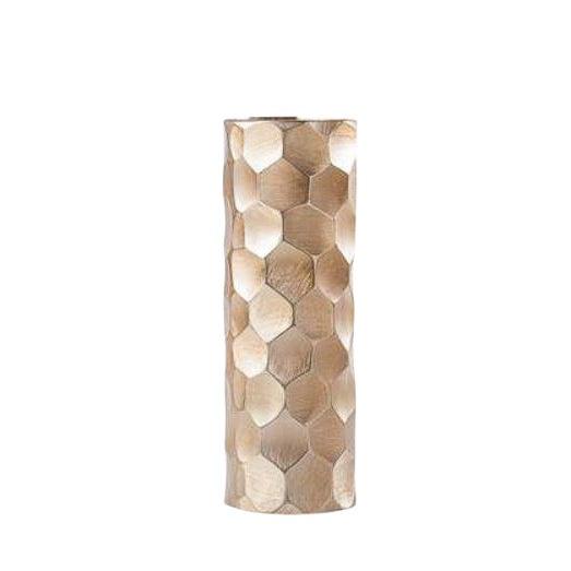 Brushed Gold Cylinder Vase - Medium For Sale