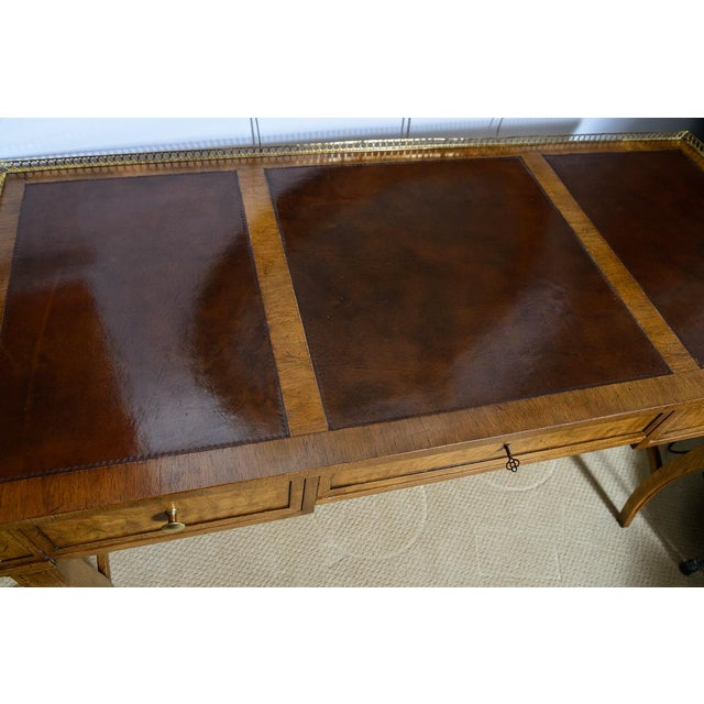 Hollywood Regency Vintage French Style Brass Gallery Writing Desk by Milling Road for Baker For Sale - Image 3 of 13