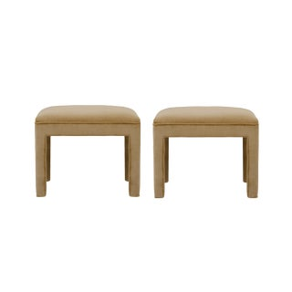 Camel Cotton Velvet Upholstered Ottomans - A Pair For Sale