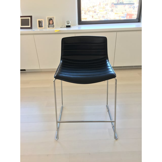 Black Leather Counter Stools by Arper - Set of 4 - Image 4 of 7