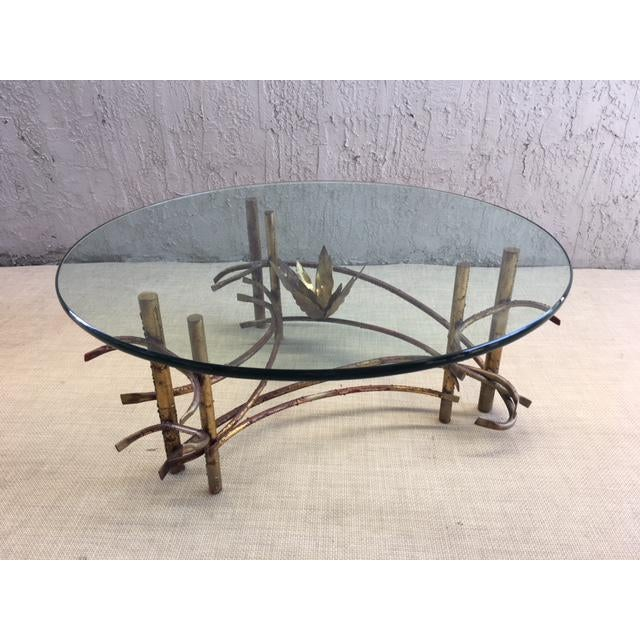 "Gold ""Lotus"" Coffee Table Attributed to Silas Seandel For Sale - Image 8 of 8"