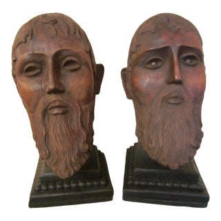 Antique Hand Carved Roman Wood Heads - Set of 2 For Sale