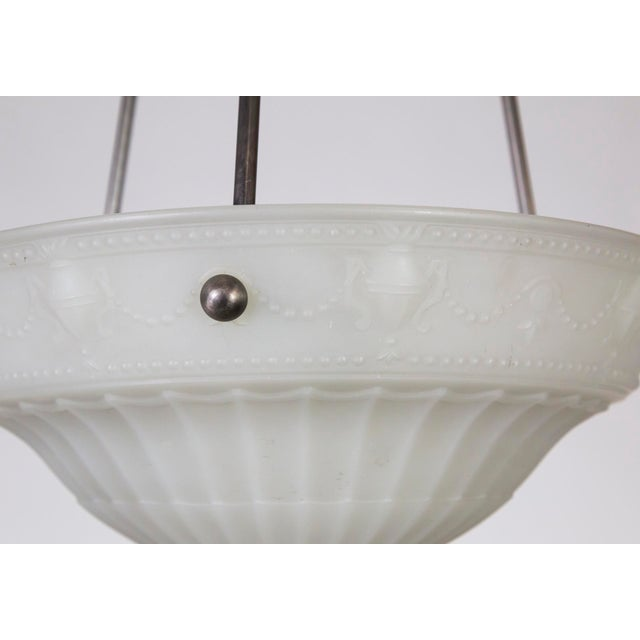 Metal 1920s Neoclassical Cast Milk Glass Rosette Pendant For Sale - Image 7 of 10
