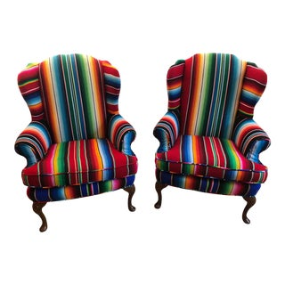Boho Chic Global Print Wingback Chairs - a Pair
