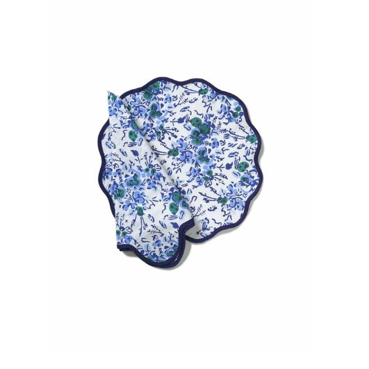 Blue Floral Block Print Scalloped Napkins and Placemats - Set of 8 For Sale - Image 4 of 4