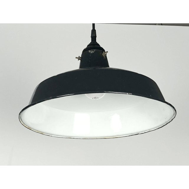"""Mid 20th Century Black Tole Industrial Hanging Lamps or Lanterns from England (14 1/4"""" Diameter) For Sale - Image 5 of 11"""
