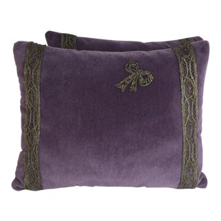 Pair of Purple Velvet Pillows With Beaded Bow