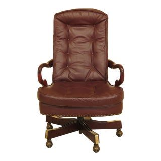 1990s Vintage Classic Mahogany Leather Tufted Office Desk Chair For Sale