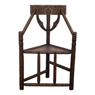 Carved Oak Swedish Monk Chair C.1950 For Sale