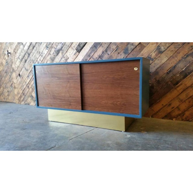 Vintage Custom Blue Lacquer Brass Credenza - Image 6 of 6