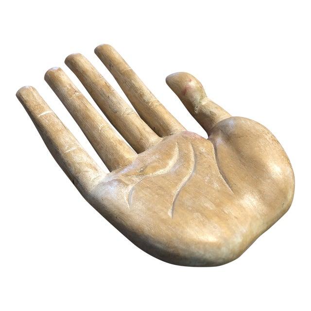 Vintage Bohemian Carved Wood Human Hand Sculpture For Sale