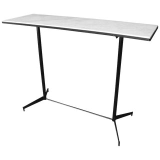 Mid-Century Modern Industrial Carrara Marble Top and Steel Frame Console/Bar For Sale