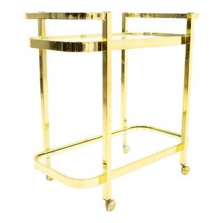 Milo Baughman Mid Century Brass and Glass Bar Cart For Sale