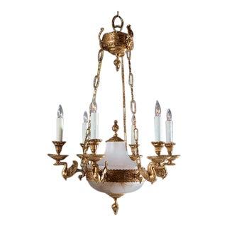 Myran Allen Luxury Lighting Empire Style Bronze Ormolu and Porcelain Chandelier For Sale